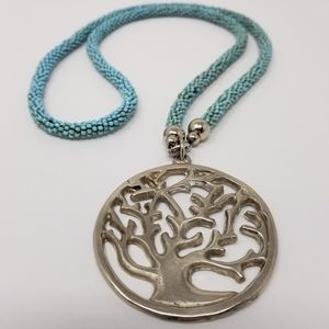 Large Tree of Life Pendant Turquoise Bead Necklace